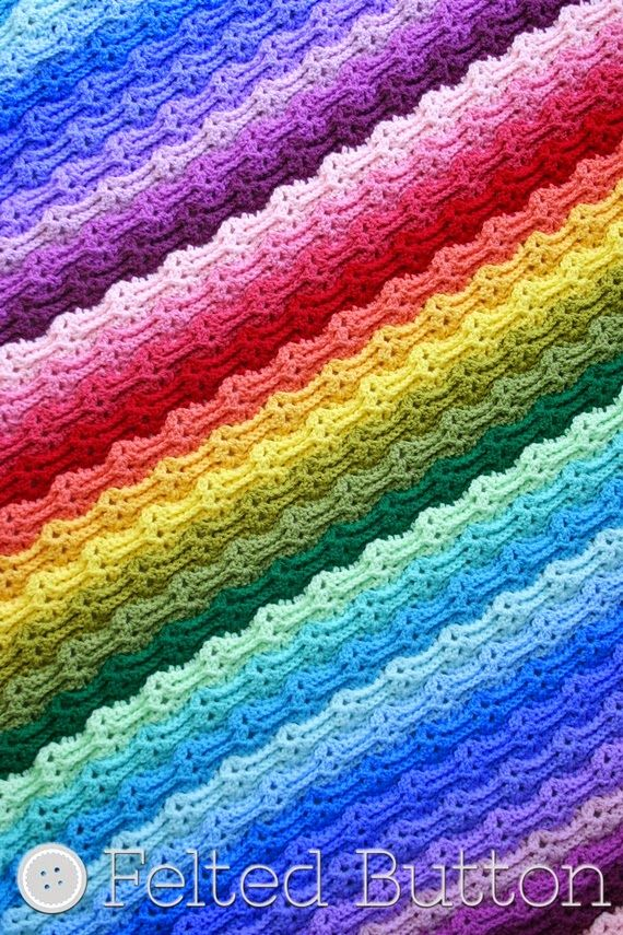 Chasing Rainbows Blanket Crochet Pattern by Susan Carlson of Felted ...
