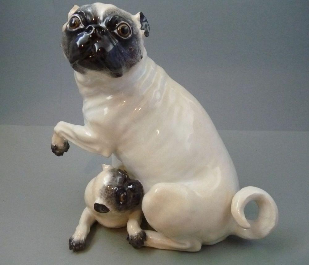 großer Mops mit Welpe Meissen Figur 78577 Hund selten TOP