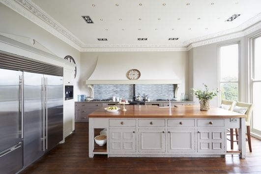 Beautiful bespoke kitchen cabinets in a distressed hand painted ...