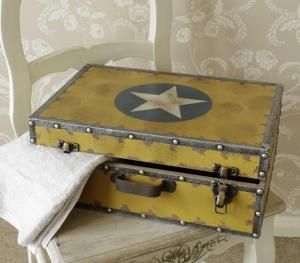 Yellow Industrial Vintage Style Military Suitcase