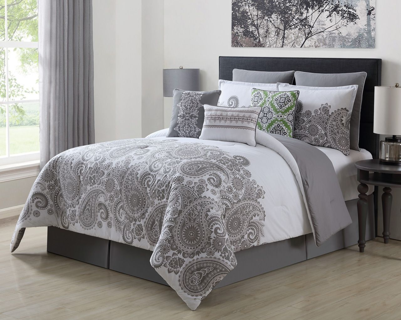 13 Piece Mona Gray White 100 Cotton Bed In A Bag Set Queen 4 Jpg 1 280 1 021 Pixels Comforter Sets Grey And White Comforter Grey And White Bedding