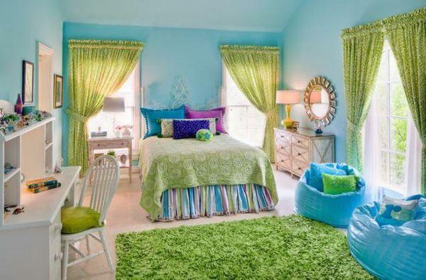 teenager zimmer m dchen ideen himmelblau gr n. Black Bedroom Furniture Sets. Home Design Ideas