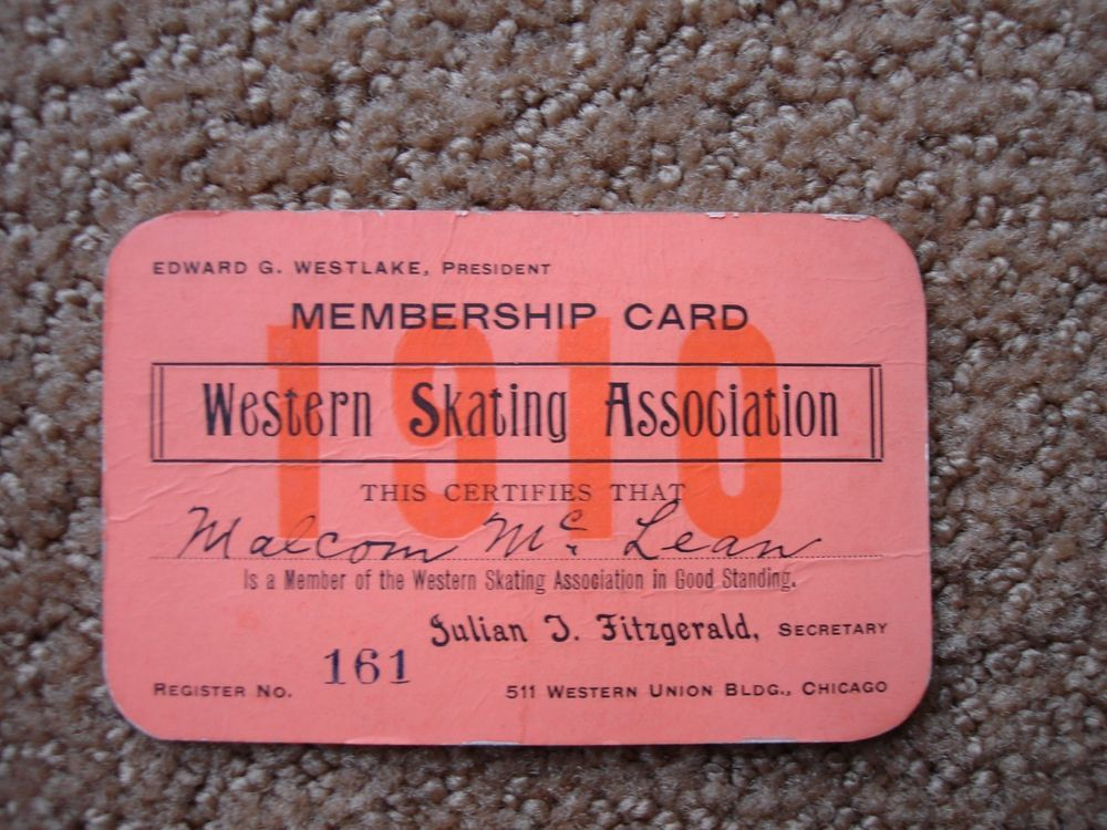 Chicago Western Skating Association Membership Card From