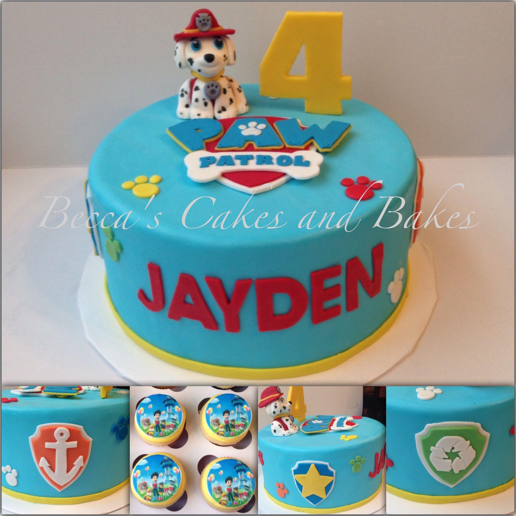 Paw Patrol Cake and cupcakesfeaturing Marshall Beccas Cakes