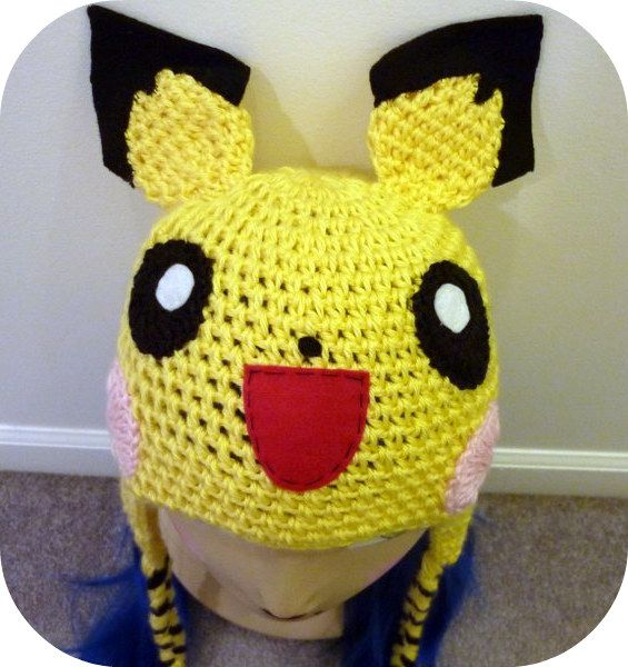 crochet pokemon hat | Crochet Pichu Pokemon Video Game Hat Happy ...