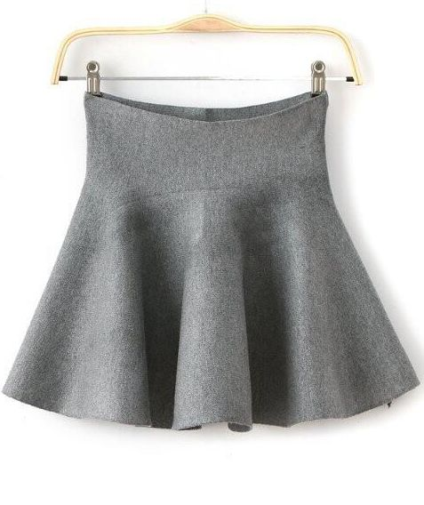 Flare Flouncing Grey Skirt | Flared skirt, High waist and Ruffles