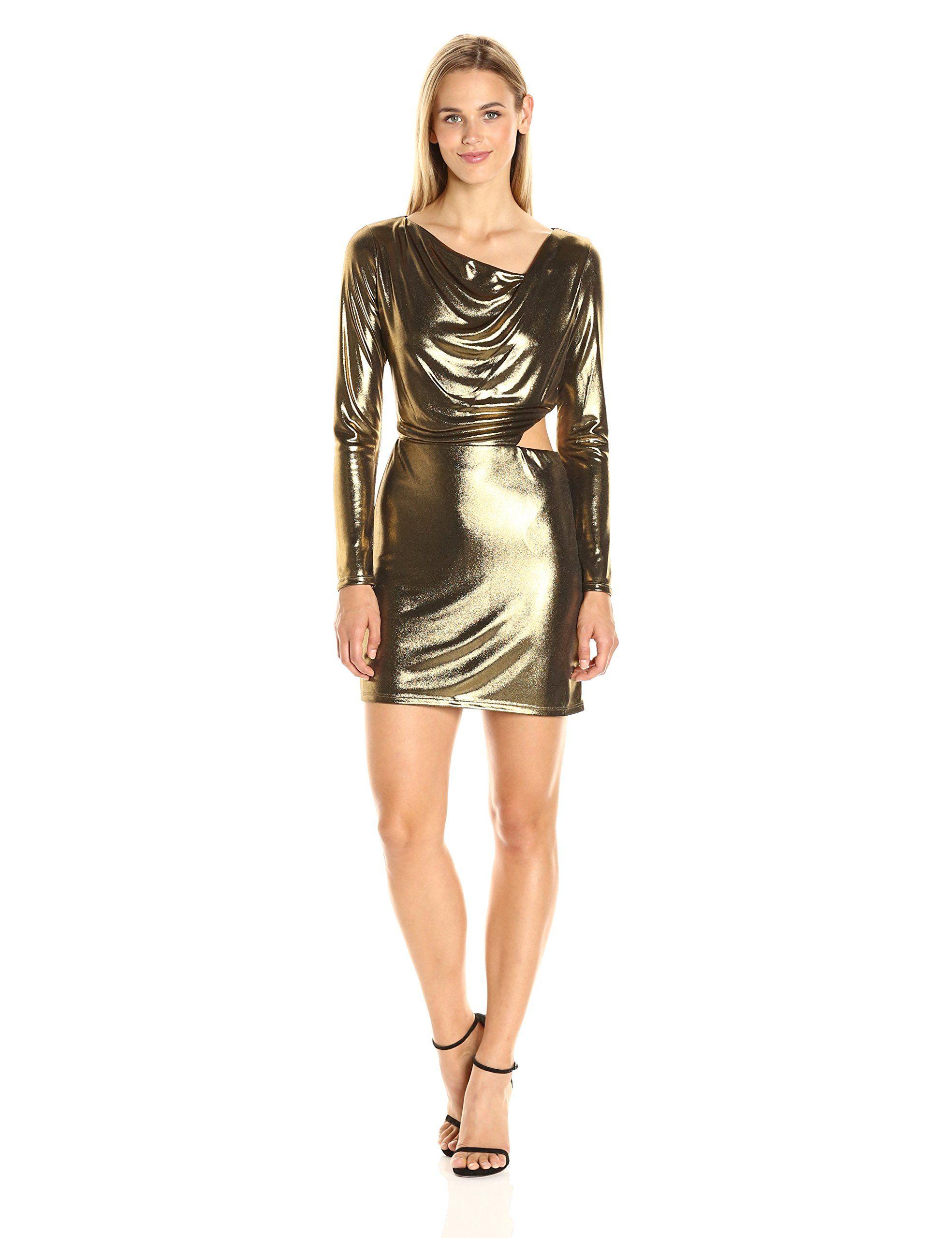 Halston heritage womenus long sleeve cowl neck metallic jersey dress