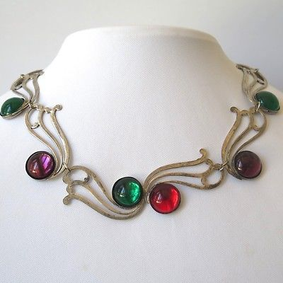 Vintage Rainbow Foiled Glass Scroll Necklace