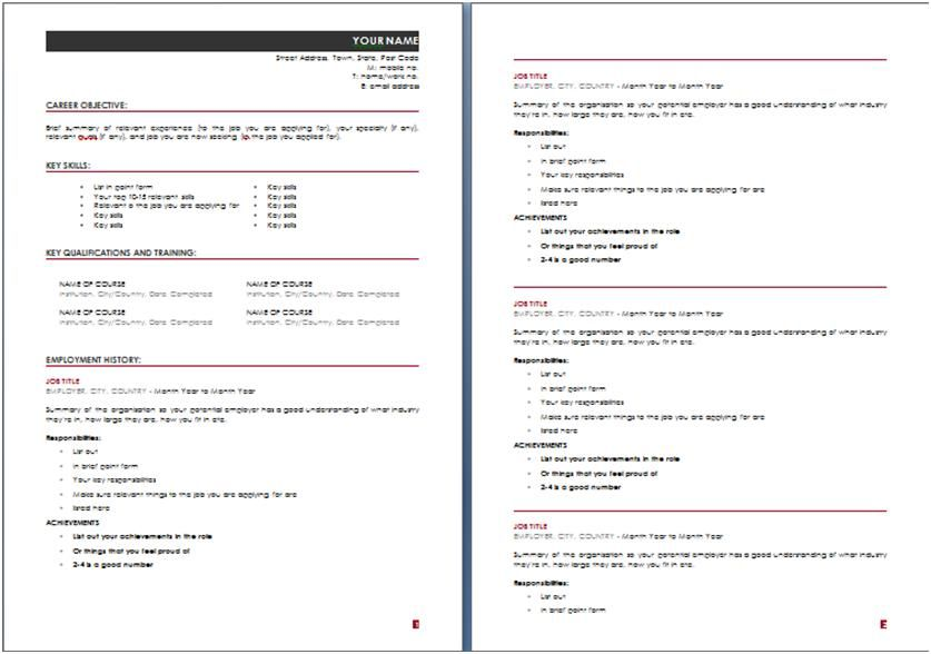 Resume Template For Microsoft Word 2010 Australian Resume Templates Australia Template Examples  Home