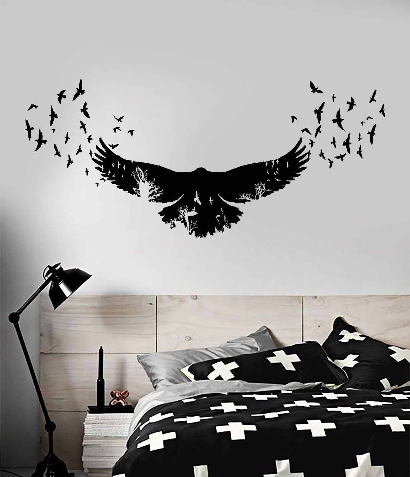 Details about Vinyl Wall Decal Raven Birds Gothic Style