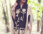 Vintage 70s LEATHER Poncho Blue Suede BIRD & FLOWER Cape