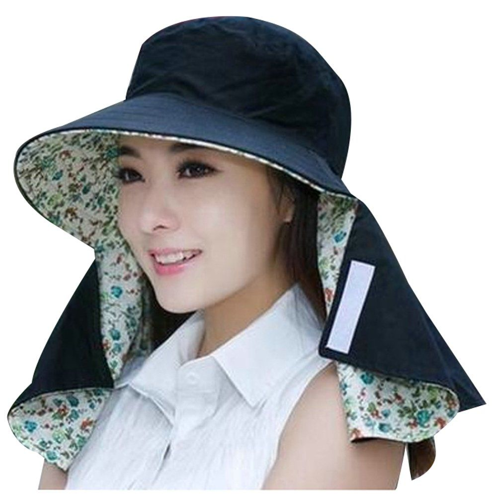 51909a0f Ilishop Women's Summer Flap Cover Cap Cotton UPF 50+ Sun Shade Hat with  Neck Cord