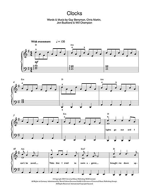 Clocks Sheet Music Coldplay Beginner Piano Sheet Music Digital Sheet Music Coldplay Songs