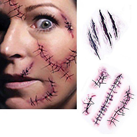 SA Halloween Zombie Narben Tattoos mit gefälschter Scab blut Scars Kostüm Makeup Aufkleber #halloween #gadget
