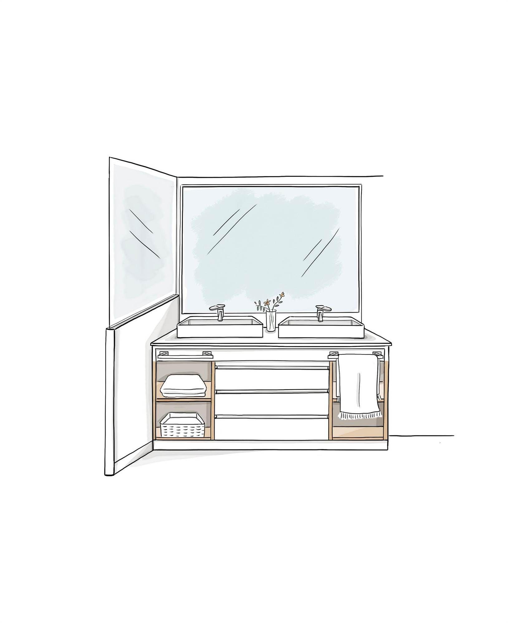 Para Guardar Muuuucho Muebles De Bano Espejo Dibujo Bocetos De Diseno De Interiores
