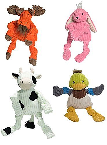 4 Pack Hugglehounds Moose Bunny Duck And Cow Plush Corduroy Durable Knotties Dog Toys Check Out This Great Product T Dog Toys Pet Dogs Dog Chew Toys