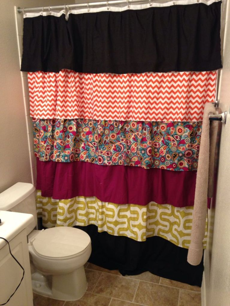 Diy ruffled shower curtain - Patchwork Ruffled Shower Curtain