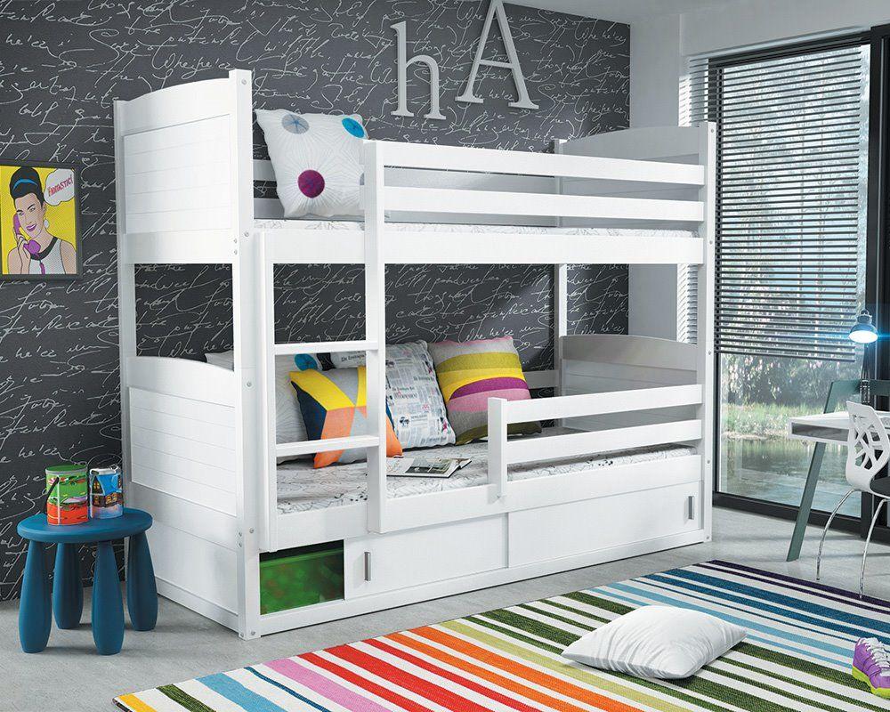 łóżko Piętrowe Rico 20090 Biały łóżka Piętrowe