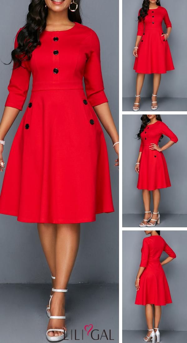 Usd37 26 Red Pocket Button Embellished A Line Dress African Fashion Dresses Fashion Dresses African Print Fashion Dresses