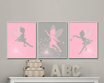 fairy nursery wall print baby girl pink and gray fairy wall print girls bedroom decor h645. Black Bedroom Furniture Sets. Home Design Ideas