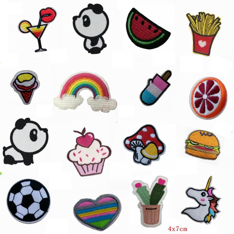 16 Pcs Rainbow Soccer Patch Set Food Cheap Embroidered Cute Patches Kids Iron On Cartoon Patches For Clothes Stick Cute Patches Custom Patches Clothing Patches