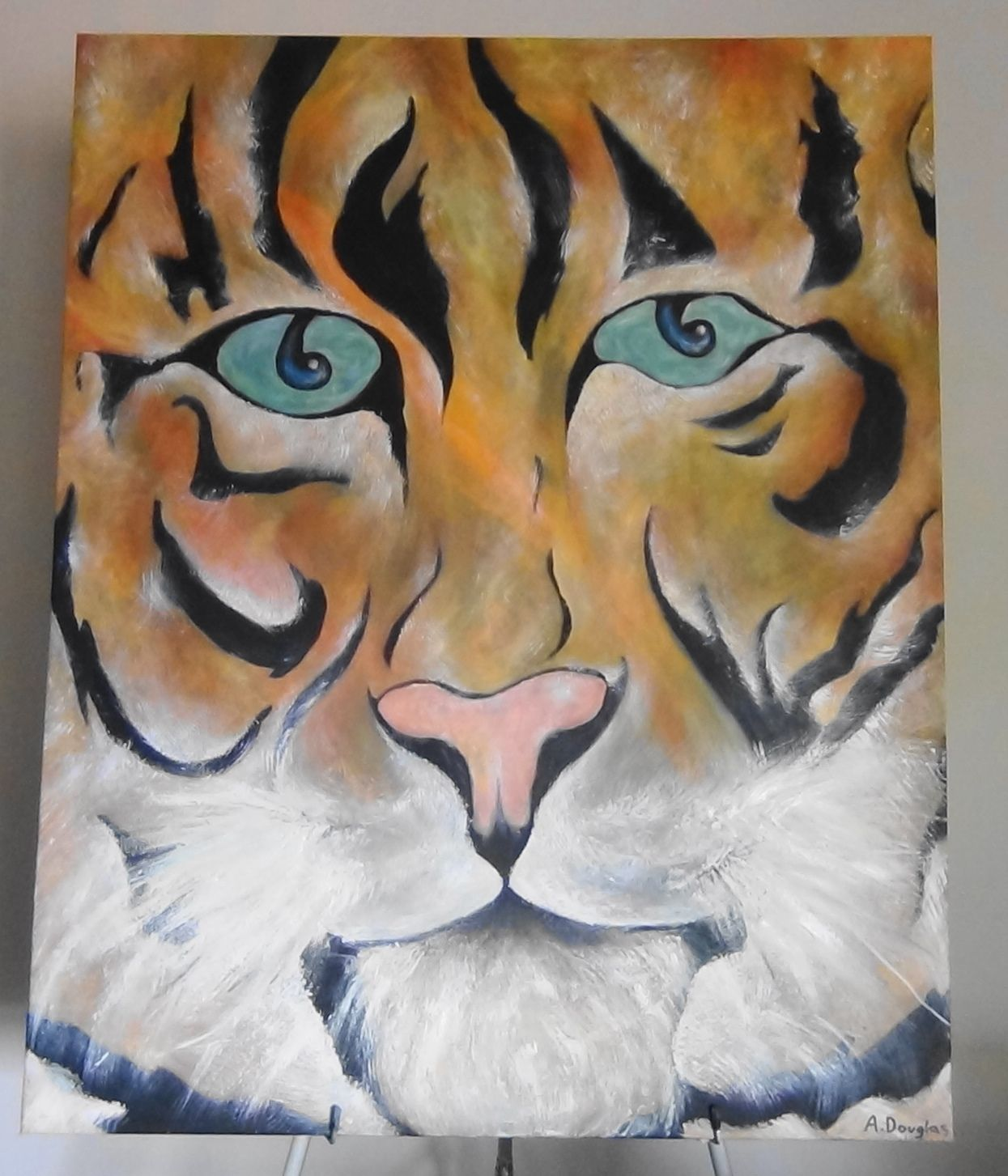 Tiger...Acrylic and oil on stretched canvas