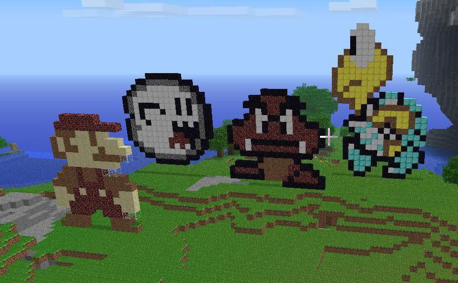 Lui è il celebre Mario, del videogioco di Super Mario Bros. Solo che mi sono divertito a realizzarlo su un gioco molto più moderno e ormai molto popolare: Minecraft