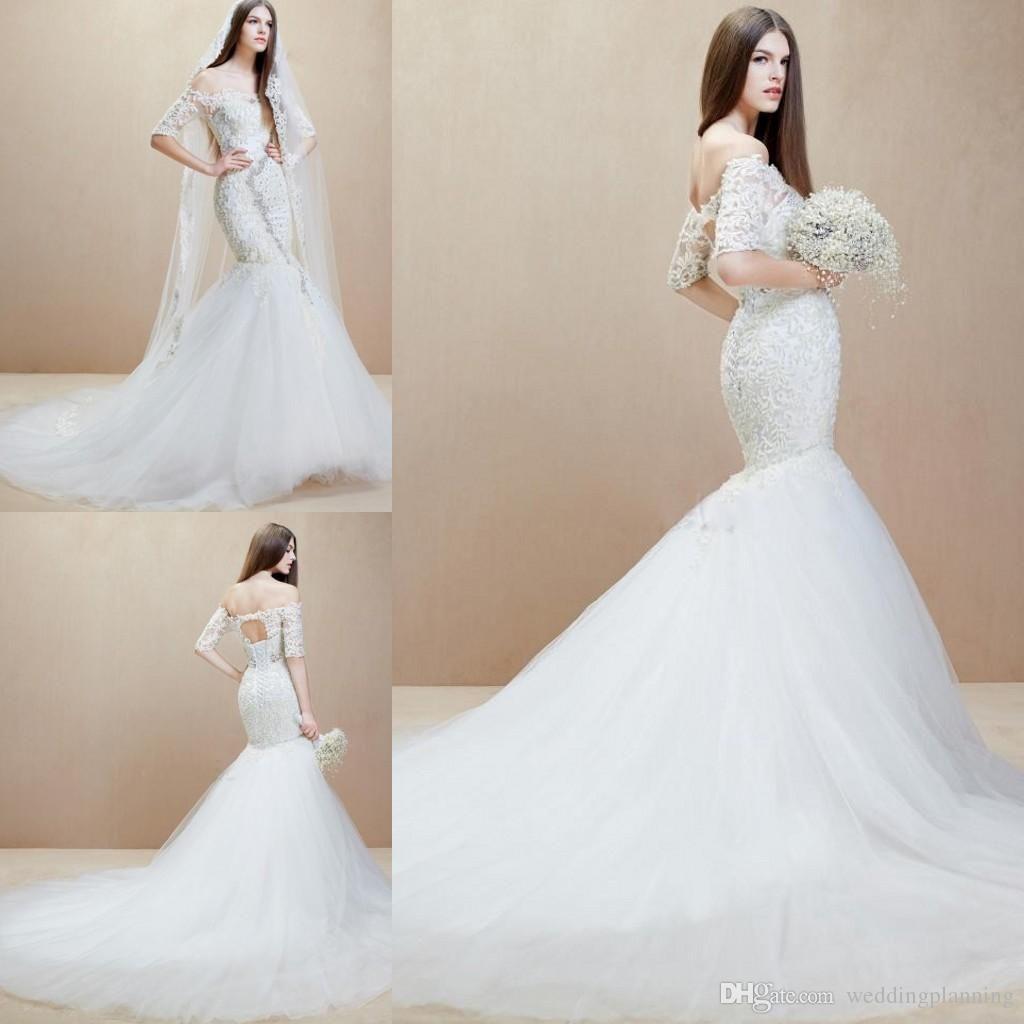 2014 Elie Saab Lace Veil Mermaid Wedding Dress Floor Length Berta Short Sleeve Long 2015 Square Cheap Vintage Beaded Trumpet Dresses