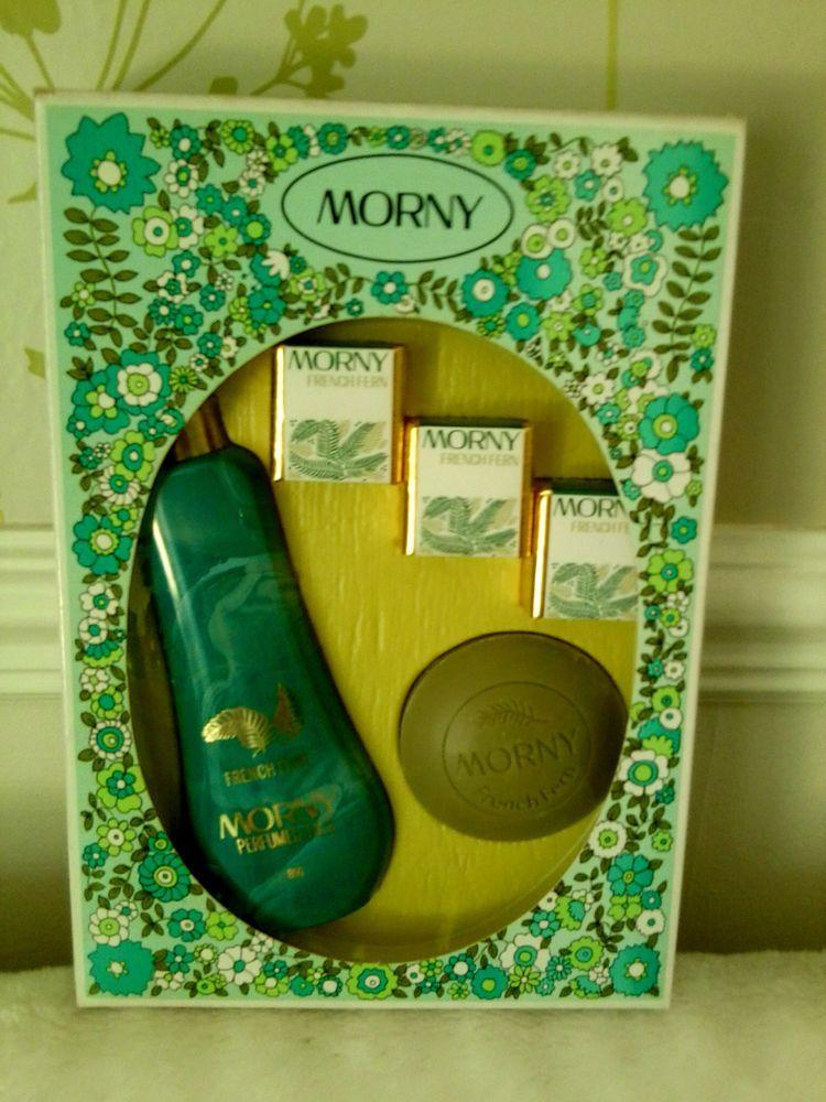 ♥Morny French Fern Vintage 1970`s Gift Set Talc,Bath Cubes