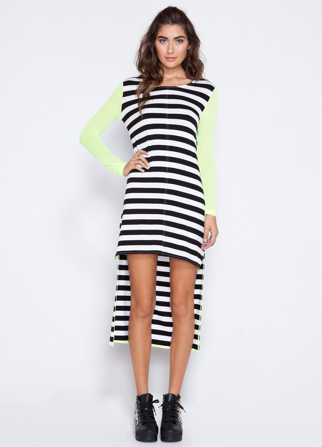 Jail chic this hilow black and white striped dress features neon