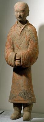 Man standing, Shanxi Region (terracotta) Chinese Western Han Dynasty,200-BC-24 AD  Musee Guimet,Paris