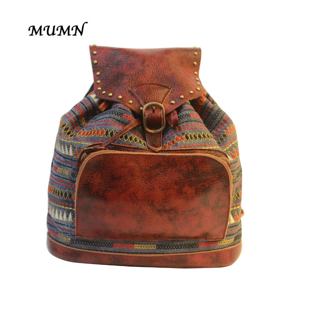 Small Bucket Backpack Brown Cow Genuine leather collocation of Denim with geometric striation National Style Unique design 8069