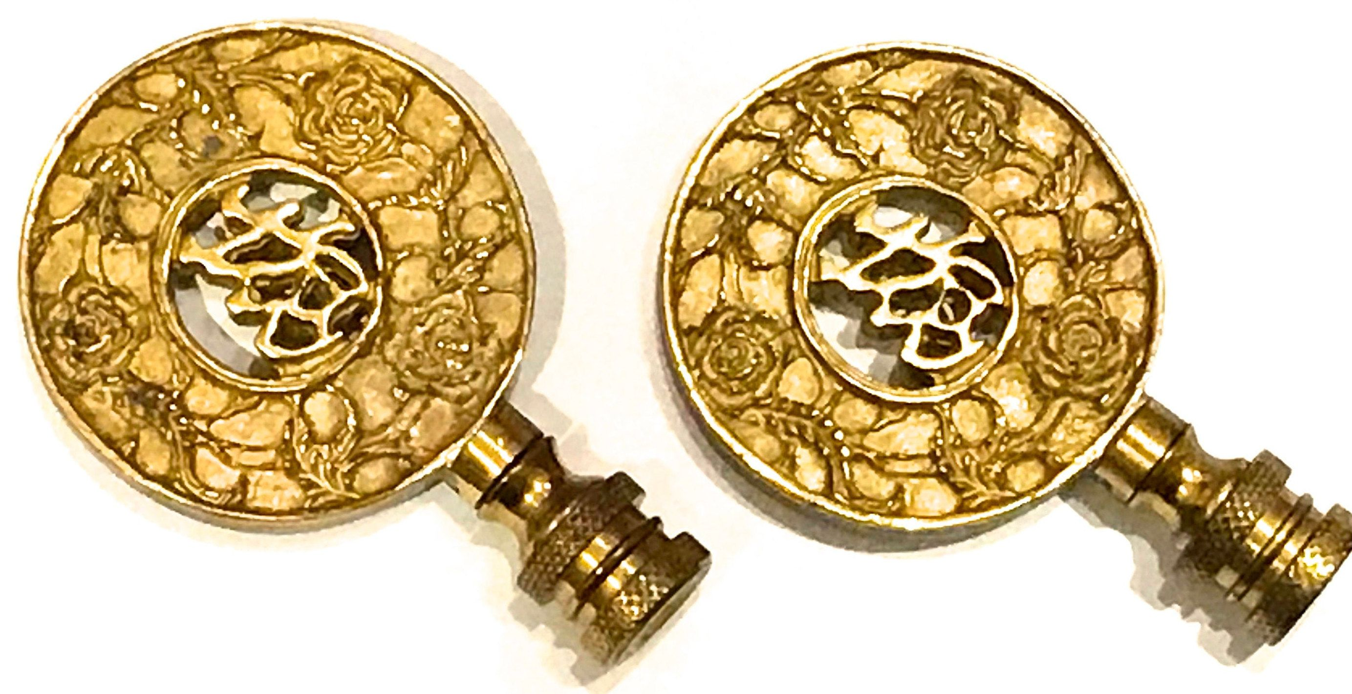 Antique Brass Good Fortune Asian Lamp Finials Oriental Motif Lamp Finials Id Century Decorative Brass Set Of 2 Lamp Finial Asian Lamps Finials