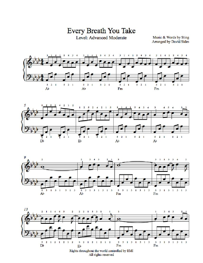 Every Breath You Take By The Police Piano Sheet Music Advanced Level Piano Sheet Music Piano Sheet Music Free Sheet Music