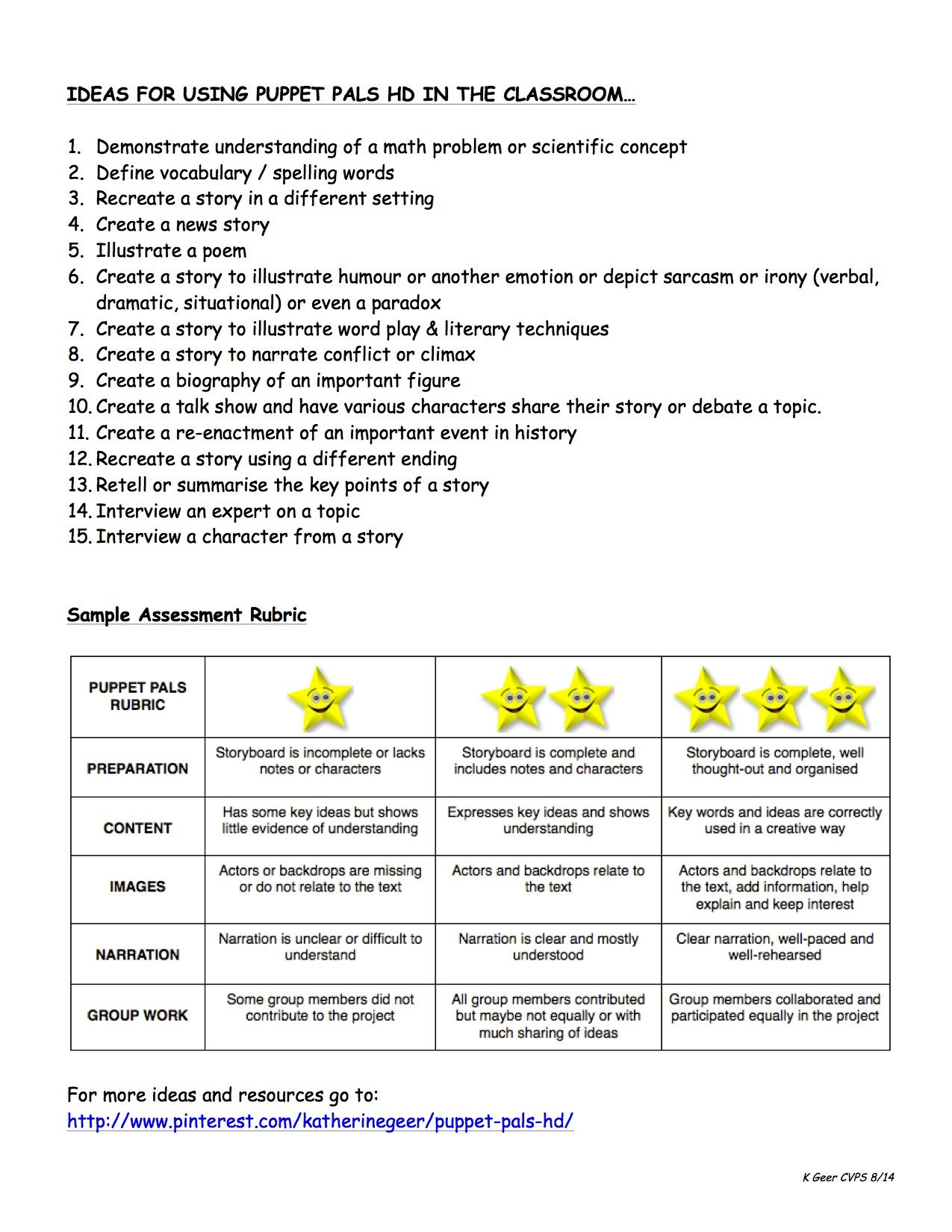 Puppet Pals HD classroom ideas plus a sample assessment rubric – Sample Assessment