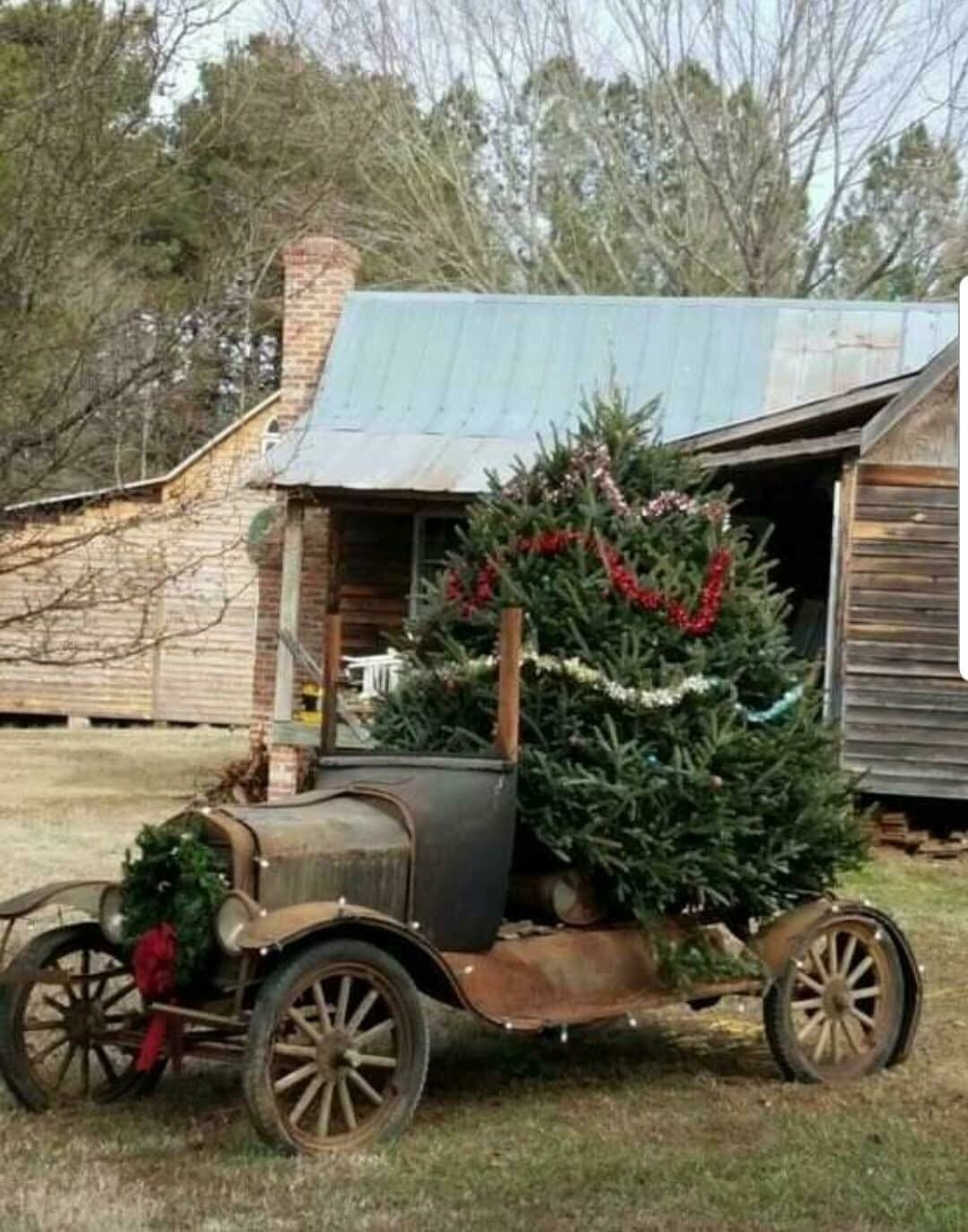 The Original Red Truck Xmas Idea Love It Country Christmas Christmas Deco Christmas Tree Farm