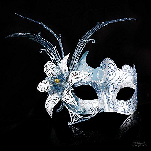 Dark Blue Light Metal Filigree Mardi Gras Venetian Masquerade Mask for Women