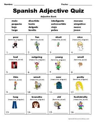 Spanish Adjective Quiz Spanish Adjectives Adjective Quiz