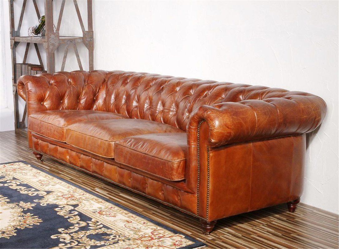 Genuine Leather Chesterfield 96 Rolled Arm Sofa Leather