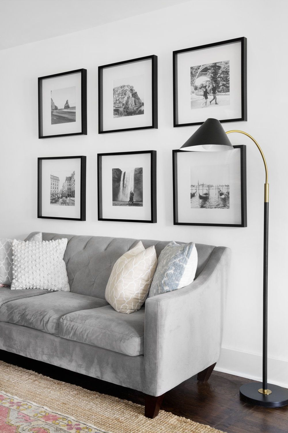 Black And White Photo Grid Gallery Wall Black And White Travel Photos In Black Ikea Frames Galler In 2020 Picture Wall Living Room Frames On Wall Living Room Photos