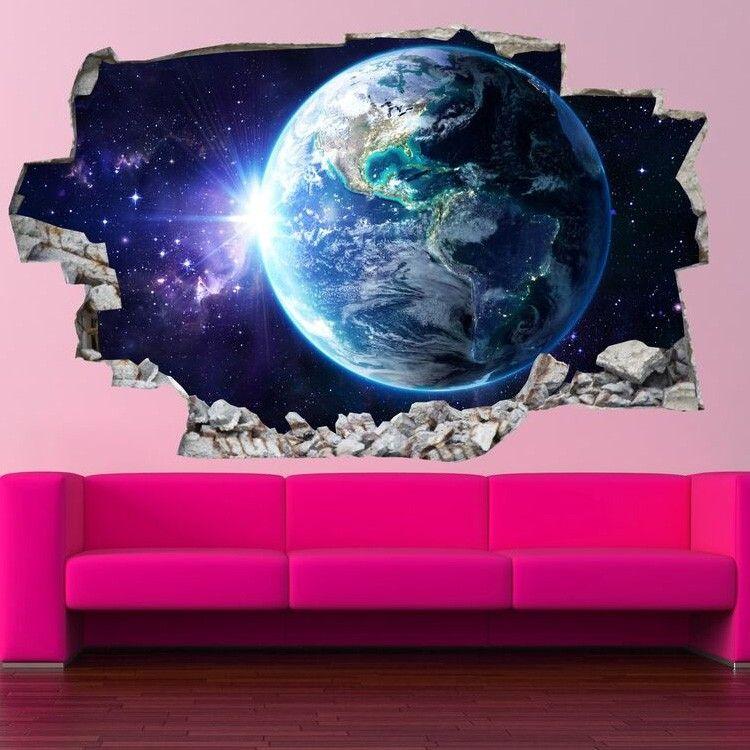 Adesivo da parete 3d terra saldi su lesara camerette pinterest ciels nocturnes peintures murales et ciel