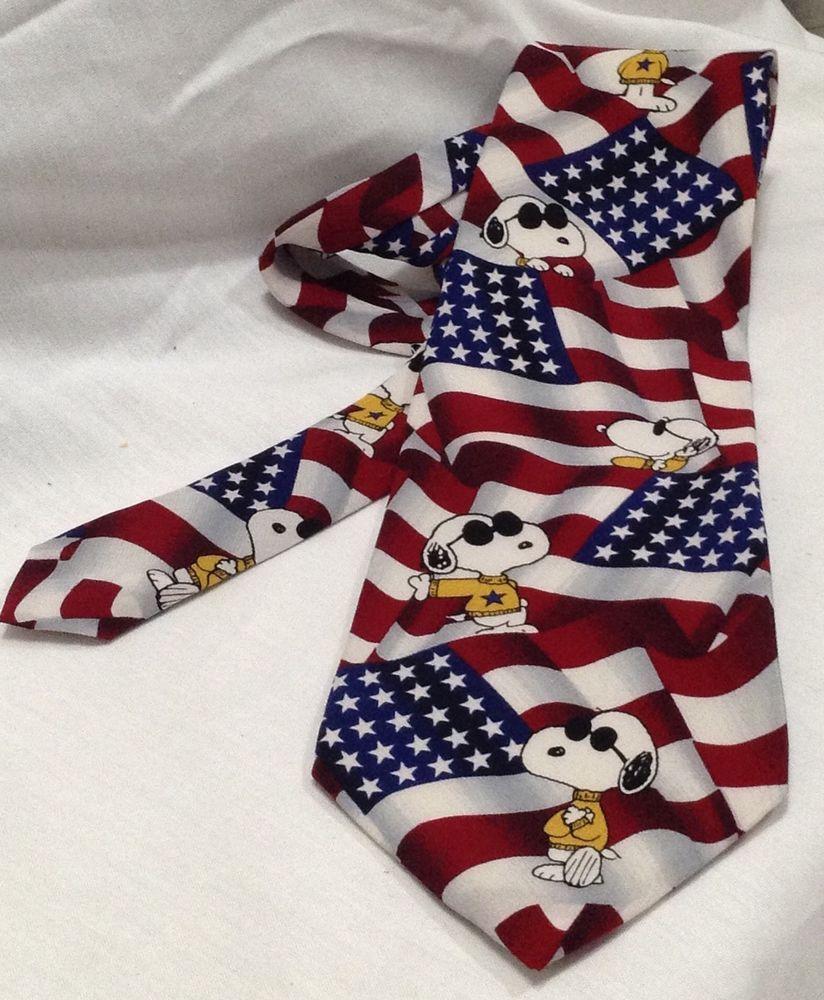 5a6a2c71fa37 Snoopy Peanuts Novelty Silk Neck Tie Necktie Patriotic USA Flag 4th July  #Snoopy #Tie