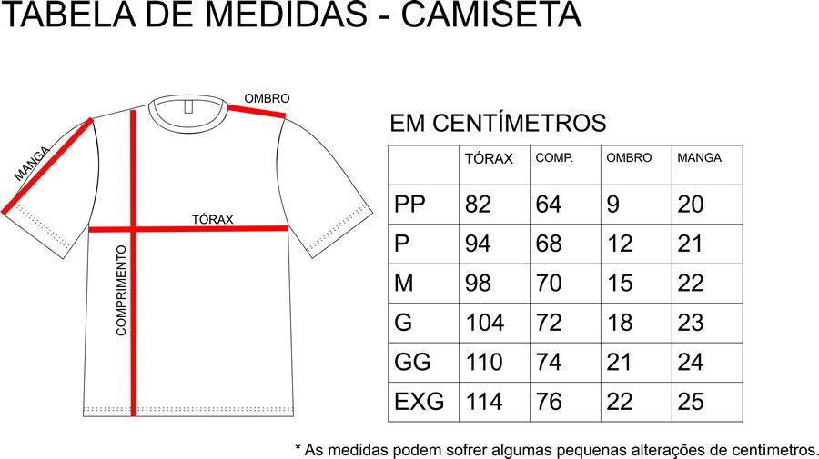 Tabela de medidas Camiseta  ac6917a9275