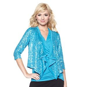 8384006290b Colleen Lopez Drape-Front Sequin Jacket at HSN.com.