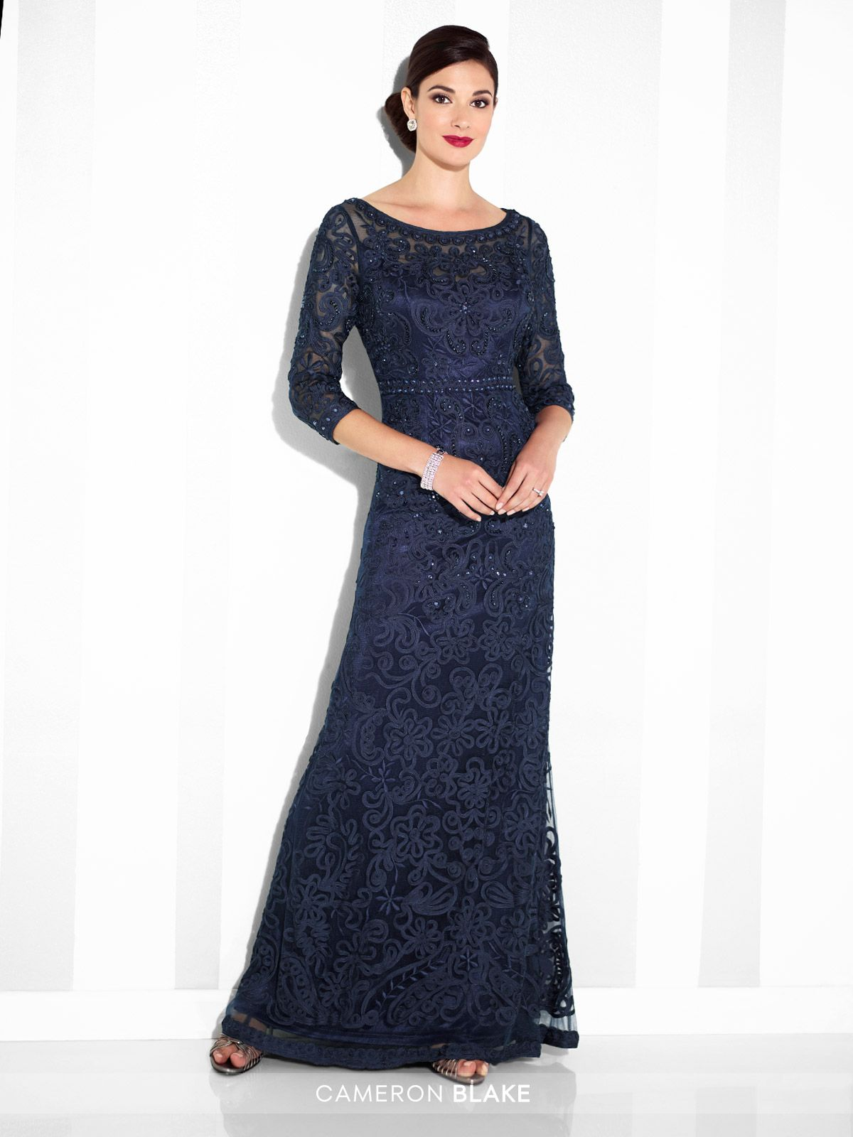 9e9ba5e3995 Cameron Blake - 115604SL - Ribbon on tulle slim A-line gown with illusion  three-quarter length sleeves