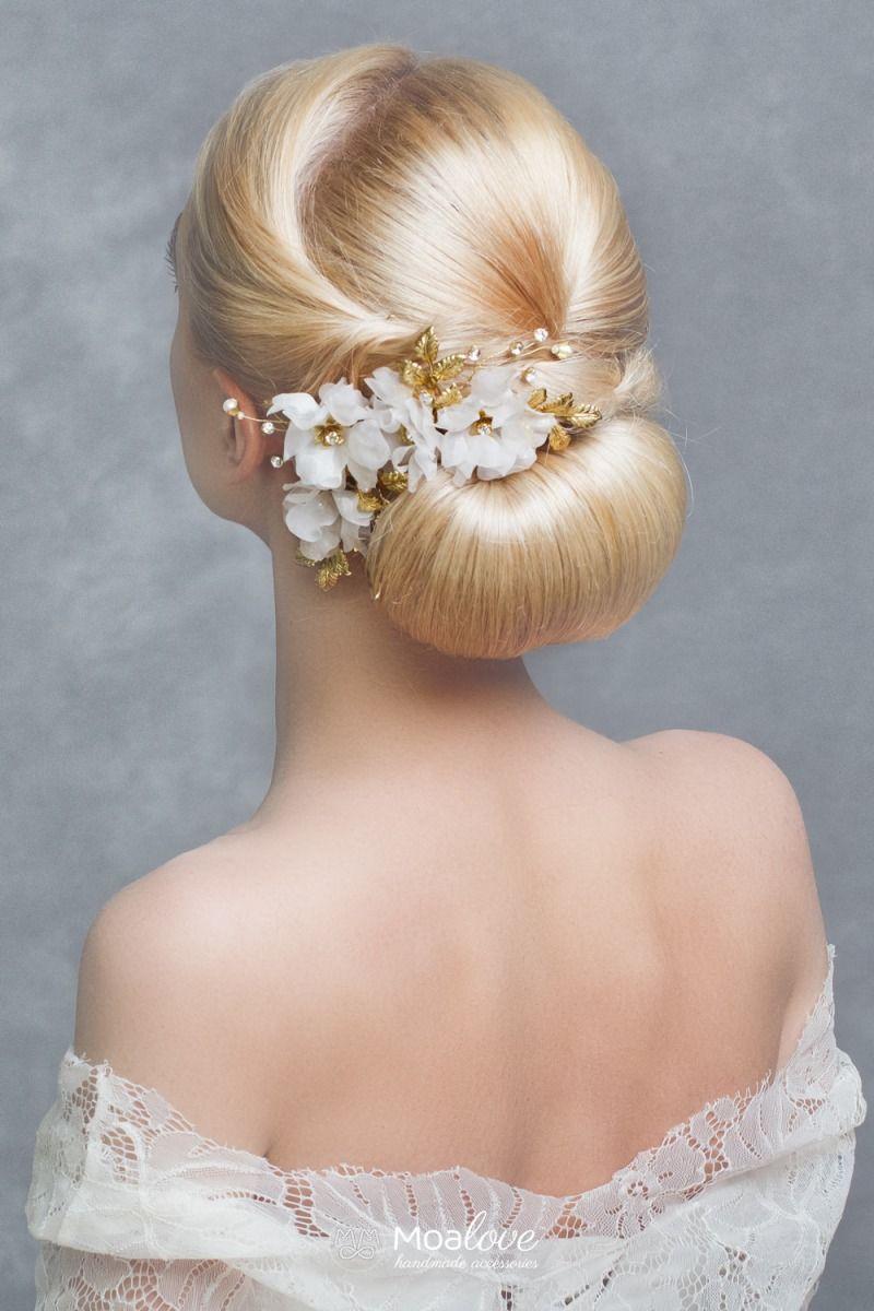 Handmade Unikatowe Ozdoby Do Wlosow Lotus Zloty Grzebien Z Kwiatami Ozdoby Do Wlosow Slubne Akcesor Haircuts For Fine Hair Hair Styles Fine Straight Hair