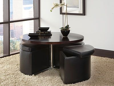 Cosmo Cocktail/Dining Table With Storage Benches/ottomans And