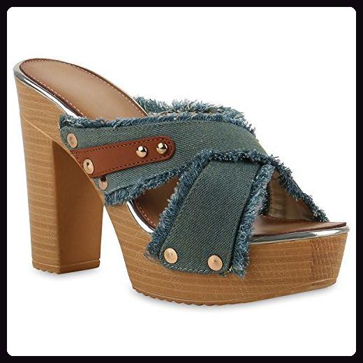 Damen Sandaletten Clogs Mules Plateau Pantoletten Blockabsatz Holz-Optik  High Heels Damen Denim Nieten Schuhe 130969 Grün 37   Flandell® - Sandalen  für ... 575b99056e