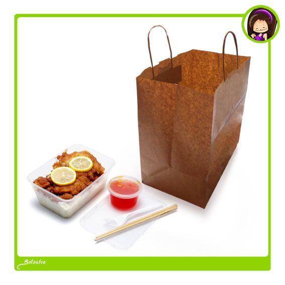 #Bolsas de papel con base más ancha de lo habitual para poder transportar bandejas / recipientes de #comida.