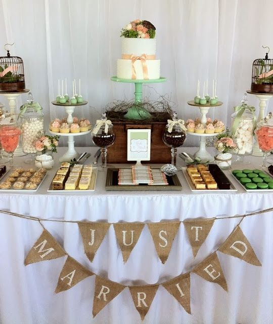 Dessert Table Like The Layout And Color No Candy More Individual Fancy Desserts Creme Br Wedding Dessert Table Wedding Dessert Table Decor Wedding Desserts